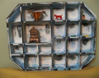repurpose wall shadow box display miniatures  shelf squares  shabby chic painted