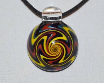 Glass Jewelry - Hand Blown Boro Pendant - Blown Glass Lampwork Spiral Necklace