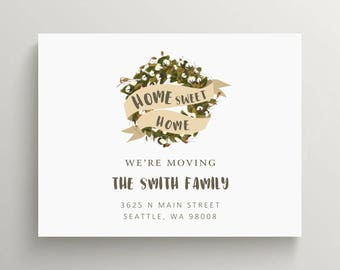 cotton wreath moving announcement set  // new home // house warming party // customizable // moving card // house // floral