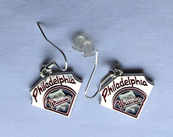 Philadelphia Phillies pierced earrings 1 inch drop.