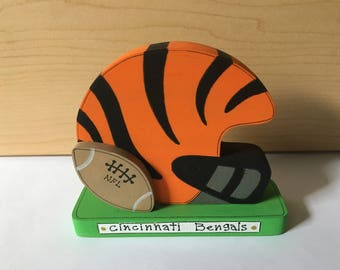 "Cincinnati Bengals Football Helmet handmade of 3/4"" wood, measures 4"" x 4"", weighs 2.9 oz, unique"