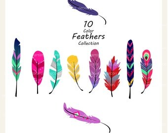 Feathers Clip Art // Feather Clipart,Painted Feathers ClipartFeathers ImagesON SALEinstant download