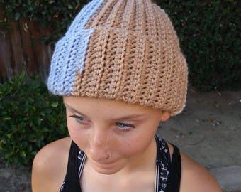 Ladies Hat, Beanie, Cap style Beanie, Messy Bun Hat, Pony Tail Hat, Crochet Beanie, Crochet Hat
