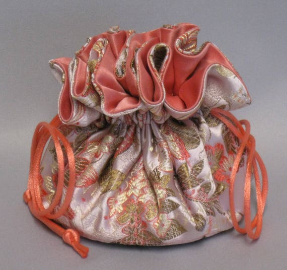Jewelry Travel Tote---Satin Brocade Drawstring Organizer Pouch---Coral / Peach Floral and Butterflies---Medium Size