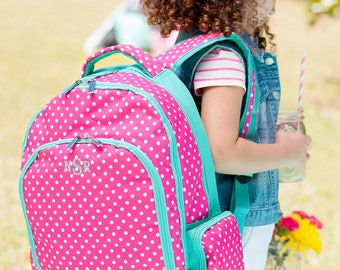 Special 3 Piece Set: Monogrammed Hot Pink and Mint Green Dottie Backpack, Matching Lunchbox & Pencil Case; Back to School; Great Girls Set