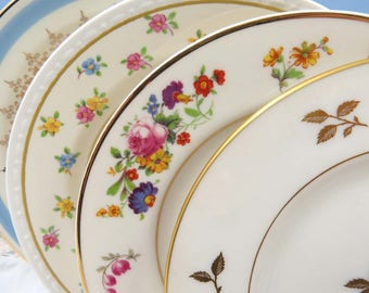 """Set of 4 Mismatched 6-1/2"""" Party Plates, Vintage China to Mix & Match for Wedding, Shower, Luncheon ~Dessert Cake Bread, Colorful Ivory BB43"""