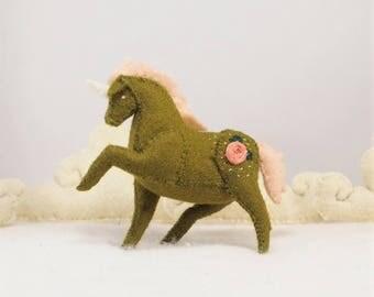 Miniature Stuffed Unicorn - Green Rose - Tiny embroidered Felt Stuffed Animal