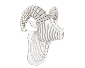 Rocky Cardboard Ram Head - Giant - White