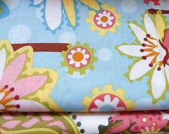 Lily Pond Floral Blue by Wendy Slotboom for In The Beginning Fabrics.  Cotton Fabric By The Yard