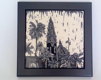 San Diego Art, California Tower, Balboa Park, Framed Art Tile, Wall Tile,  Framed Tile, Black and White Sgraffito Tile, Carved Tile