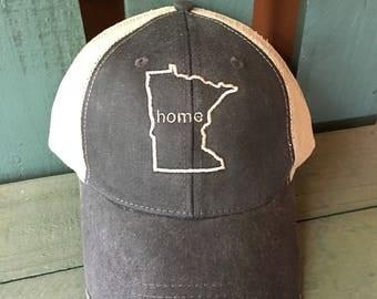 Minnesota State Monogram Baseball Hat, Women's Hat, State Outline Home Cap, Womens Baseball Cap, Trucker Hats, State Hat