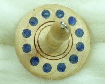 Lluna Hand-Turned Maple / Lapis Lazuli Drop Spindle-Top Whorl 22 Grams