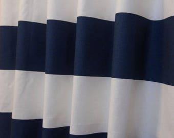 "RTS, shower curtain, 6"" horizontal cabana stripes, navy blue and white, 72 x 72"" #118"