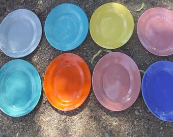 Vintage Vernonware Platter Dish Orange Blue Pink