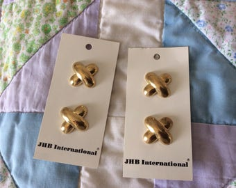 Four Vintage Carded Buttons, Shank, Gold Colored Metal, 7/8 in., Made in Taiwan