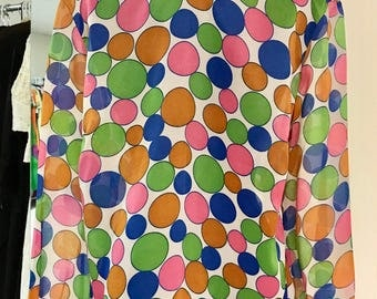 Vintage 1960s Multicolor Dot Sheer Blouse