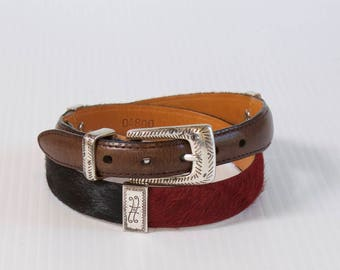 Vintage Cow hair Belt - brown, red, black and green Leather Belt by Brighton size medium (30)