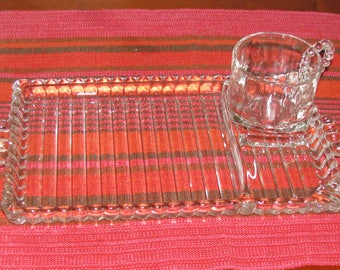 Four sets of Hazel Atlas glass luncheon plates and cups
