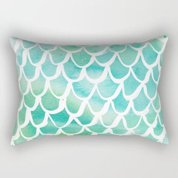 Mermaid Lumbar Pillow - Toddler Pillow - Scallop Pillow - Watercolor Bed Pillow - Rectangle Throw Pillow - Aqua Pillow - Travel Pillow
