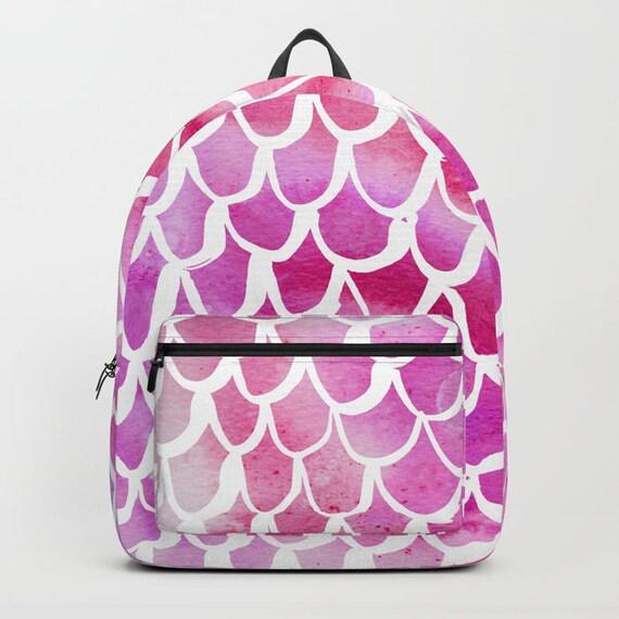 Pink Backpack Pink bookbag Mermaid backpack Mermaid bookbag Kids backpack Watercolor backpack Watercolor school bag Scallop backpack