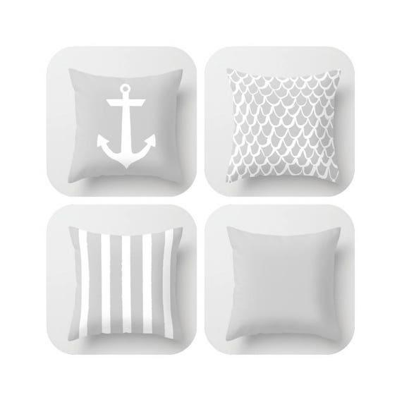 Silver Throw Pillow . Mermaid Pillow . Anchor Pillow . Coastal Pillow . Gray Striped Pillow . Cushion . Grey Throw Pillow 14 16 18 20 inch