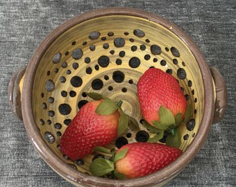Ceramic Berry Bowl, Colander in Autumn Yellow with handles