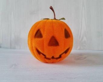 Vintage Flocked Jack o' lantern/ pumpkin / Halloween Decoration