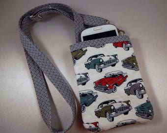 Open Top Pocket Easy Reach Cell Phone Men's Vintage Cars Quilted  Lanyard Wallet Organizer Tote