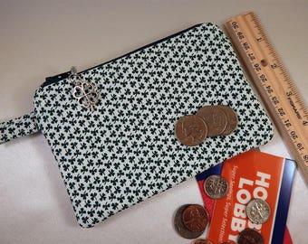 Shamrock Clover White Green Clover Charm Coin Purse Cosmetic Makeup Travel Makeup Bag