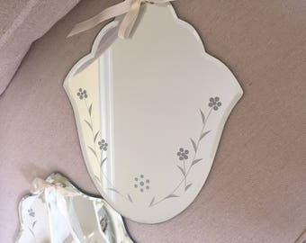 Mirrors Set of wall mirrors.. decorative etched Mirrors...Small Mirror