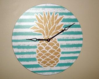 Pineapple Wall Clock, Gold Glitter Pineapple Clock, Unique Wall Clock, Bling Pineapple, Fun Clock, Clock for Dorm Room - 2434