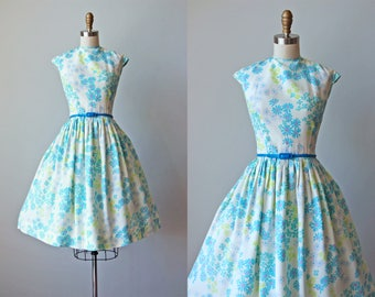 50s Dress - Vintage 1950s Dress - Aqua Chartreuse Purple Floral Print Full Skirt Sundress S M - Dream Girl Dress