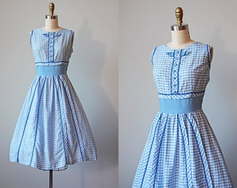 50s Dress - Vintage 1950s Dress - Blue Gingham Bust Shelf Full Skirt Sundress S - Trudy Hall Dress