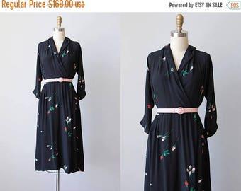 ON SALE Vintage 1940s Dress - 40s Dress - RARE Blue Black Pink Rose Print Floral Rayon Dress M - Darkest Desire Dress