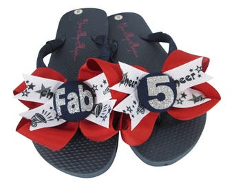 Bling Cheer Bow Flip Flops, Personalized with Team School Name, Ribbon Flip Flop Sandals with Glitter