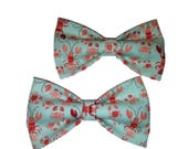 Blue Lobsters Bow Tie - Nautical Hair Clip - Dog Bow Tie - Cat Bowtie - Coastal Wedding