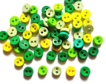 100 pcs  Tiny Buttons micro buttons 2 holes size 6mm Mix Green tone