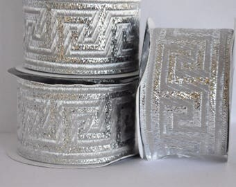 Silver  Satin  Greek Key Jacquard Ribbon  Trim