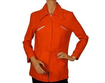 1940s Orange Wool Ladies Jacket - S