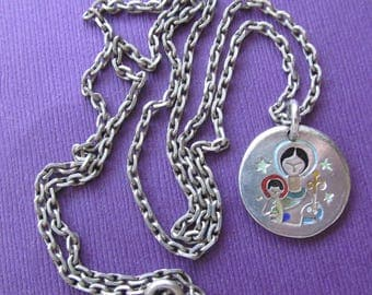 Virgin Mary Jesus Elie Pellegrin  Vintage Religious Medal French Modernist Silver And Enamel Madonna Catholic Pendant  Necklace  SS476