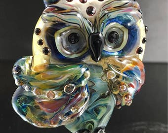 Guardian Owl Large accent statement Lampwork Bead Focal:   -  SRA Lorraine Dowdle