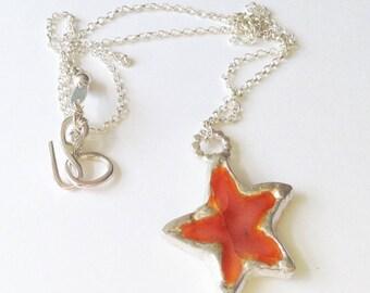 Sterling Silver Star Pendant Necklace Orange Enamel