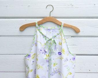 Sleeveless Top, Cotton Top, Shirt, Summer Shirt, Floral Top, Boho Top, Blouse, Tunic, Womens top, Size 10, Jannysgirl