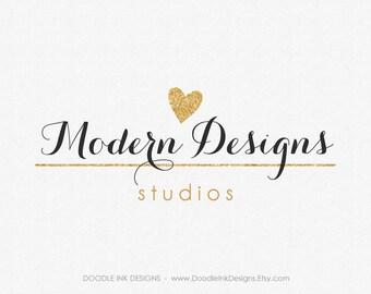 Golden Glittler Heart Logo, Etsy Logo, Design Logo, Etsy Shop Design Logo, Etsy Shop Cover, Business Branding Logo, Photography Logo, Modern