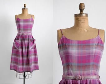 1950s vintage purple + pink plaid cotton summer dress * 5S948
