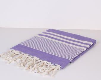 Towel for Baby, Bath Towel / Beach Towel , Cotton PESHTEMAL Cream-Purple