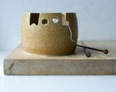 IN STOCK - The 'wool' yarn bowl, hand thrown custom pottery yarn bowl in natural brown