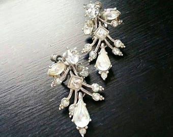 Vintage ORA Screw Back Earrings, Clear Rhinestones Rhodium Plated Filigree Wedding Bridal Earrings 1950's, Vintage Designer Costume Jewelry