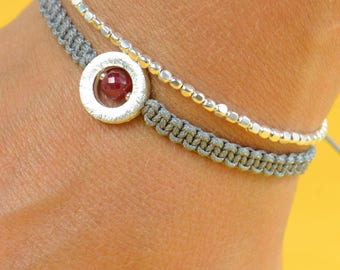 Ruby and sterling silver bead  bracelet