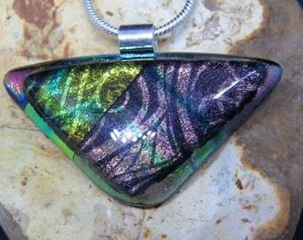 Pink Green Yellow Dichroic Glass Pendant - Dichroic Fused Glass Pendant - Dichroic Fused Glass Jewelry - Fused Glass UK -Fused Glass Pendant